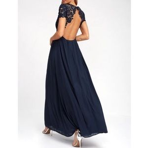 Lulus the greatest navy lace formal maxi dress S